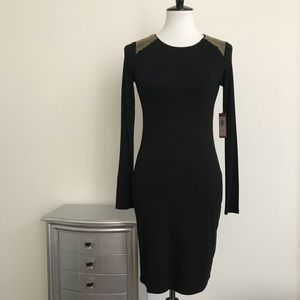 NWT VINCE CAMUTO BLACK DRESS WITH GOLD DETAIL